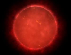 Umelecká predstava blízkeho pohľadu na červeného trpaslíka, najbežnejšieho typu hviezdy v našej Galaxii