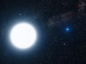 Umelcova predstava hviezd Sírius A (plazmová hviezda) a Sírius B (degenerovaná hviezda)