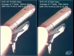 Dvojica záberov urobených pozemnými kamerami počas štartu. Na záberoch bol nájdený nezvyčajne veľký úlomok penovej izolácie nádrže ET, ktorý narazil do krídla orbitera.