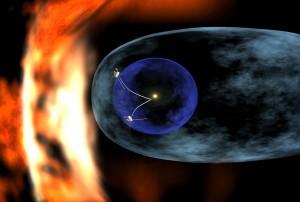 Na tejto schéme sa smerom zvnútra von nachádza terminačná vlna, heliopauza a rázová vlna. Vyznačená je poloha sond Voyager 1 a Voyager 2, ktoré sú najvzdialenejšími sondami a ako prvé mali možnosť preskúmať hranice slnečnej sústavy.