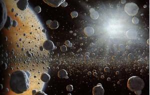 Prstence Saturna zblízka, umelecká predstava. Prstence nie sú jednoliatym telesom, ale skladajú sa z množstva samostatne obiehajúcich častíc rôznej veľkosti