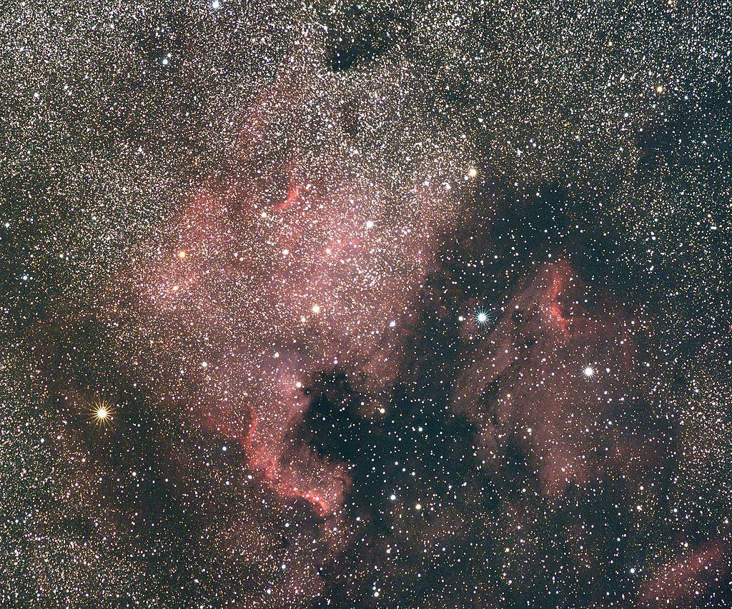 """Hmlovina NGC 7000 Severná Amerika a IC 5067-70 Pelikán. Obe hmloviny oddeľuje tmavý prachový pruh na """"atlantickom pobreží"""". """"Mexický záliv"""" je tiež veľký prachový oblak."""