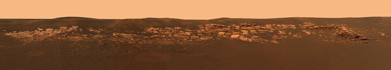 Panoráma krátera Eagle, miesta pristátia Opportunity