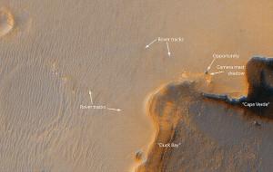 Výkonná kamera sondy Mars Reconnaissance Orbiter nasnímala z obežnej dráhy stopy rovera Opportunity v blízkosti krátera Victoria