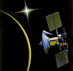 Umelecká predstava sondy Megallan, bez ktorej by román v tejto podobe nevznikol. Zdroj: NASA