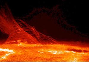Fotografia slnečnej chromosféry vytvorená sondou Hinode (Solar-B) 12. januára 2007