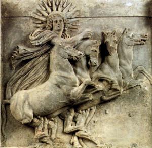 Reliéf z chrámu v Aténach: Hélios, boh a zosobnenie Slnka, na svojom slnečnom voze