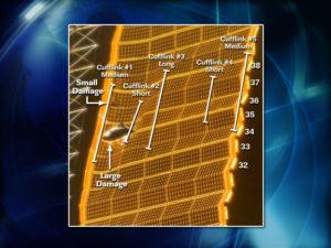 Grafické znázornenie umiestnenia piatich spon, ktoré mali uvolniť napätie na poškodenom solárnom paneli