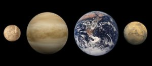 Terestriálne planéty: zľava Merkúr, Venuša (zobrazená bez atmosféry), Zem a Mars