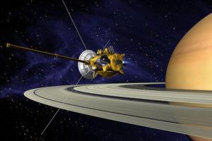 Umelcova predstava sondy Cassini nad prstencami Saturna