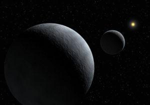 Umelecká predstava blízkeho pohľadu na systém Pluto-Charon, ktorý za milióny rokov slapového brzdenia dosiahol stacionárnu rotáciu