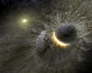 Umelecká predstava o zrážke protozeme s telesom o veľkosti Marsu. Následkom tejto kolízie mal vzniknúť náš Mesiac