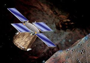 Umelcova predstava o sonde NEAR Shoemaker v blízkosti planétky Eros
